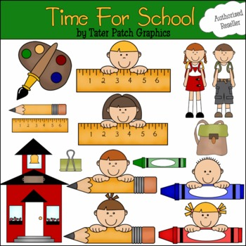 Clipart Graphics-Time for School (Personal and Commercial Use)