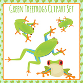 Frogs - Green Tree Frogs Clip Art Set for Commercial Use