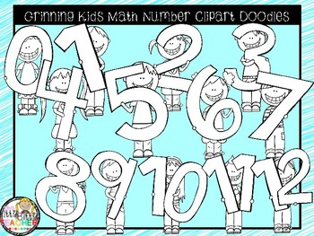 Clipart - Grinning Kids with Giant Math Numbers 0-12
