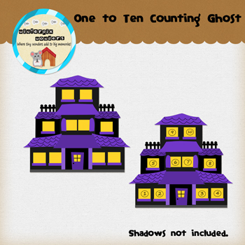Clipart: Halloween Counting Ghost - Haunted House