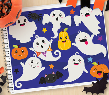 Clipart - Halloween Ghouls and Ghosts / Friendly Ghost / Cute