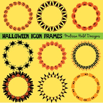 Halloween Icon Circle Frames Clipart