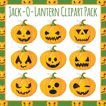 Halloween Jack O Lantern Clip Art Pack for Commercial Use