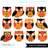 Clipart - Halloween Owls (Black and Orange)