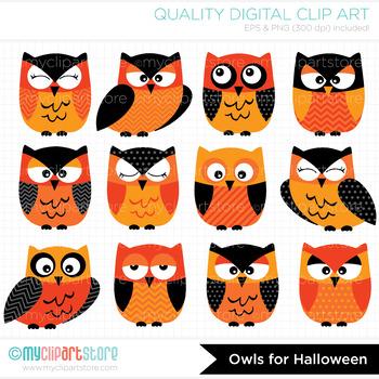 Clipart - Halloween Owls (Black and Orange)