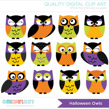 Clipart - Halloween Owls (Purple, Black Green and Orange)