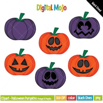 Clipart - Halloween Pumpkins, Orange and Purple