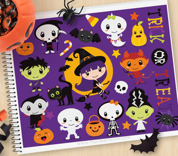 Clipart - Halloween / Trick Or Treat / Dress Up Characters