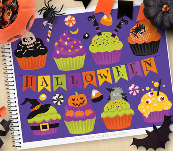Clipart - Halloween Cupcakes
