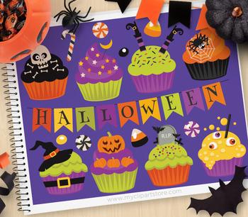 Clipart - Halloween Cupcakes