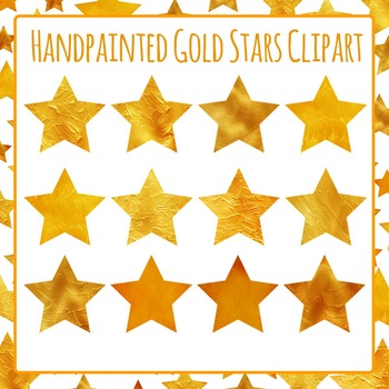 Gold Stars (Handpainted) Clip Art Set for Commercial Use