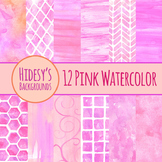 Watercolor Handpainted Pink Backgrounds Clip Art - Commercial UsePink