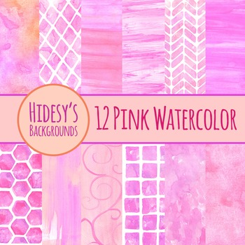 Watercolor Handpainted Pink Backgrounds Clip Art - Commerc