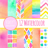 Digital Papers - Watercolor Backgrounds Handpainted Clip Art Pack Commercial Use