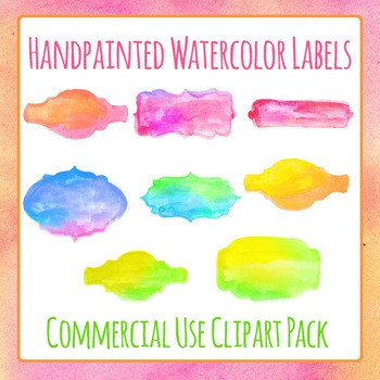 Handpainted Watercolor Labels Clip Art Pack for Commercial Use