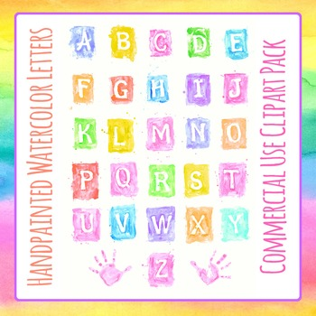 Watercolor Letters or Alphabet Handpainted Clip Art Pack for Commercial Use