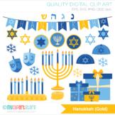 Hanukkah (Gold) Clipart, Jewish Holiday, Menorah, Dreidels