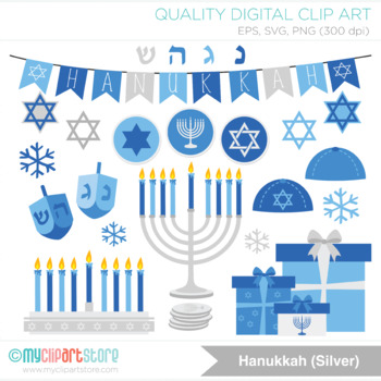 Clipart - Hanukkah (Silver) / Jewish Holiday / Menorah / Dreidel