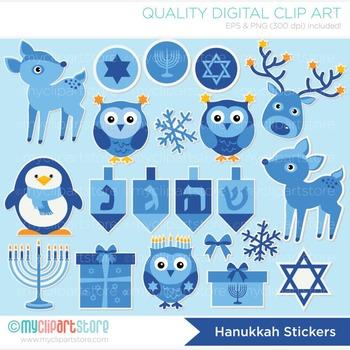 Clipart - Hanukkah Stickers / Animals / Jewish Holiday / Menorah / Dreidel