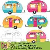 Clipart Happy Camper - Cute camping caravan RV clip art pastel colors