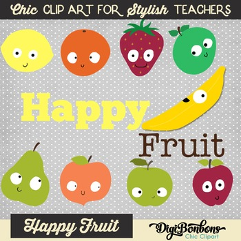 Happy and Colorful Fruit Clipart