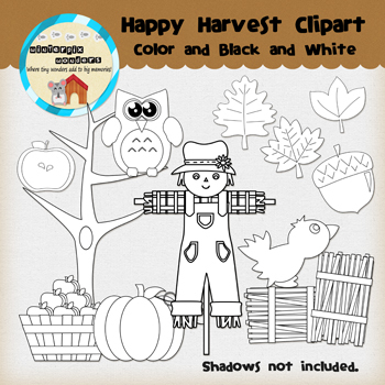 Clipart: Happy Harvest color & B&W - Fall - pumpkin - scarecrow