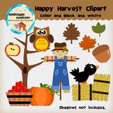 Clipart: Happy Harvest color & B&W - Fall - pumpkin - scarecrow