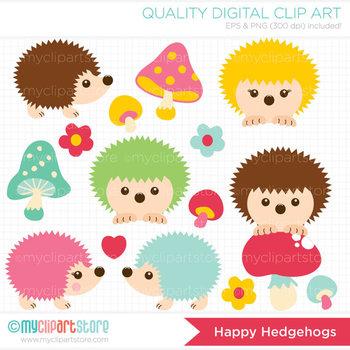 Clipart - Happy Hedgehogs