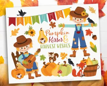 Clipart - Happy Scarecrow / Thanksgiving (Autumn / Fall)
