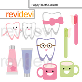 Clipart Happy Teeth - tooth brush and tooth paste cute clip art