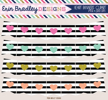 Clipart - Heart Banners with Black Stripes