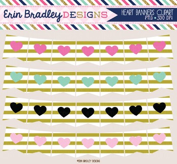 Clipart - Heart Banners with Gold Stripes