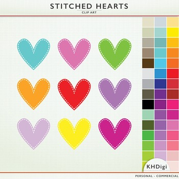 Clipart - Hearts - Stitched