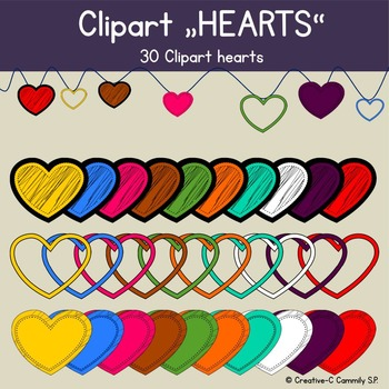 Clip art Hearts doodle frames - Valentine hearts - personal and commercial use