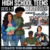 Clipart - High School Teens Reading BUNDLE (Sets 1 and 2)