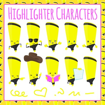 Highlighter Character Clip Art Pack for Commercial Use