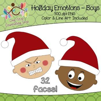 Clipart: Winter Christmas Emotions - Boys