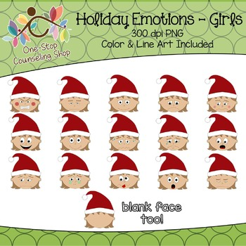 Clipart: Winter Christmas Emotions - Girls