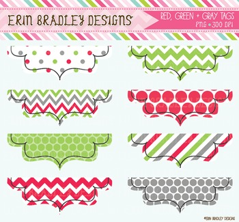 Clipart - Holiday Frames in Red Green & Gray