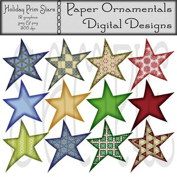 Clip Art or Clipart:  Holiday Prim Stars