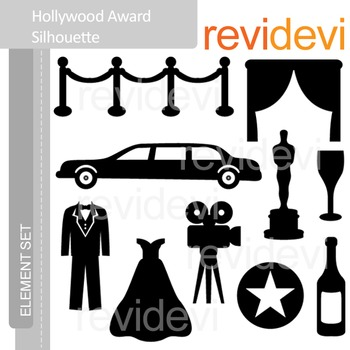 Clipart Hollywood Award Silhouette - Red Carpet Party - Clip art E053