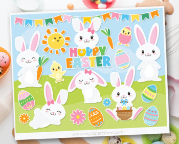 Clipart - Hoppy Easter - White Easter Bunnies