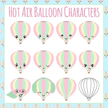 Hot Air Balloon Character Clip Art Pack for Commercial Use