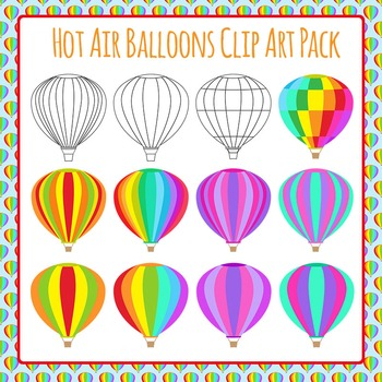 Hot Air Balloon Clip Art Pack - Transport - For Commercial Use