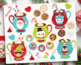 Clipart - Hot Chocolate / Cookies / Santa (Christmas)