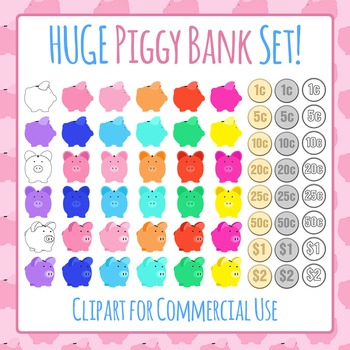 Piggy Bank Collection Clip Art Pack for Commercial Use