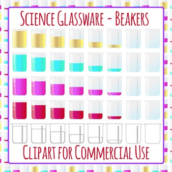 Science Beakers Clip Art Set for Commercial Use