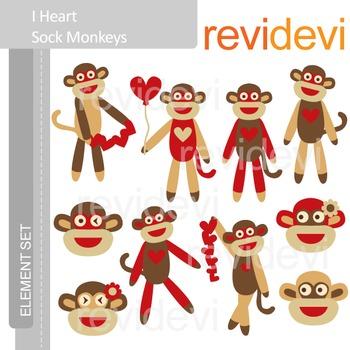 Valentine clip art: Sock monkey clipart