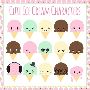 Ice Cream Characters Emotions Clip Art Set for Commercial Use