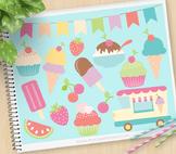 Ice-Cream Truck Clipart, Gelato, Sorbet, Ice Cream, Summer, SVG